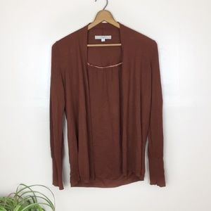 [Loft] Open Front Rust Brown Cardigan